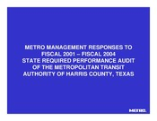 Response to Performance Audit - FY01-FY04
