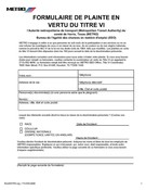 Title VI Complaint Form (French)